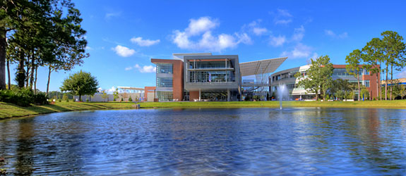 View of the Student Union across the lake