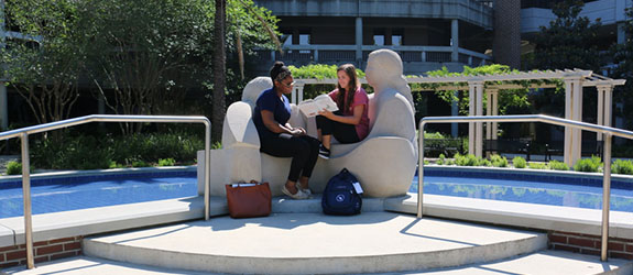 Students study at the Healing Place scupture