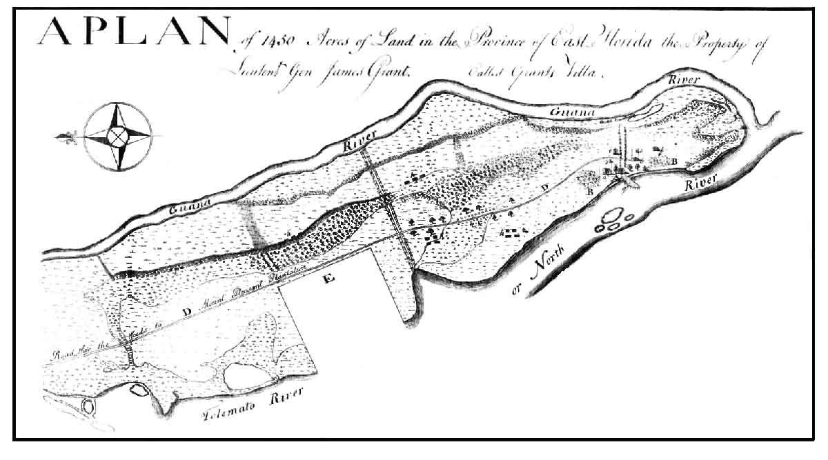 Surveyor S Map Of Grant S Villa A British East Florida Indigo Plantation Circa 1784 Today The Site Of Guana River State Park Courtesy Of The National
