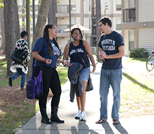 Students walking and talking outside housing