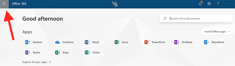 Microsoft Office 365 Apps logos screenshot
