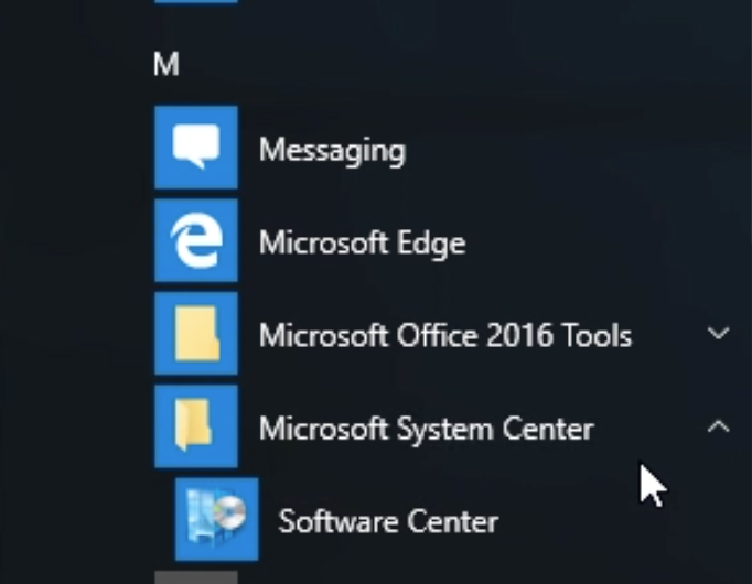 Software Center Windows 10 with arrow pointing to microsoft system center