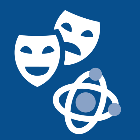 Theater masks and nucleus icon
