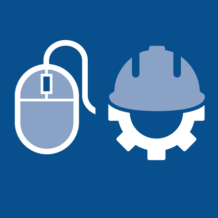 Mouse and gear with construction hat