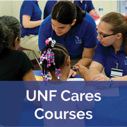 UNF Cares - Students workiong with school kids