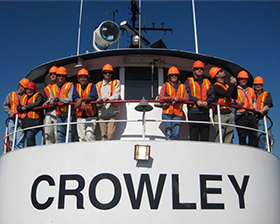 Students aboard a Crowley ship