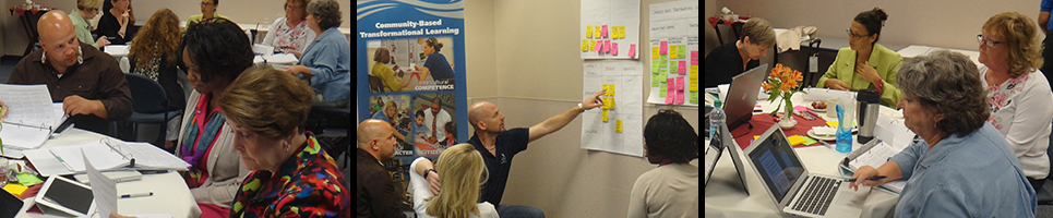 Three photos of  Community Engagement Enhancement Program working in groups