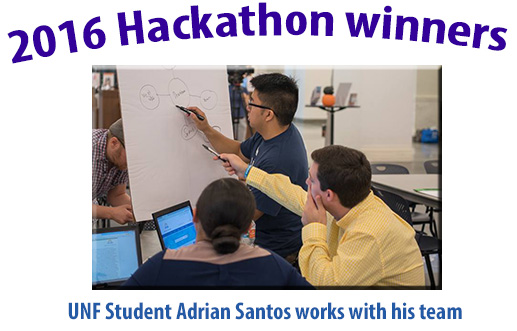 2016 Hackathon winners - unf student adrian santos works with his team