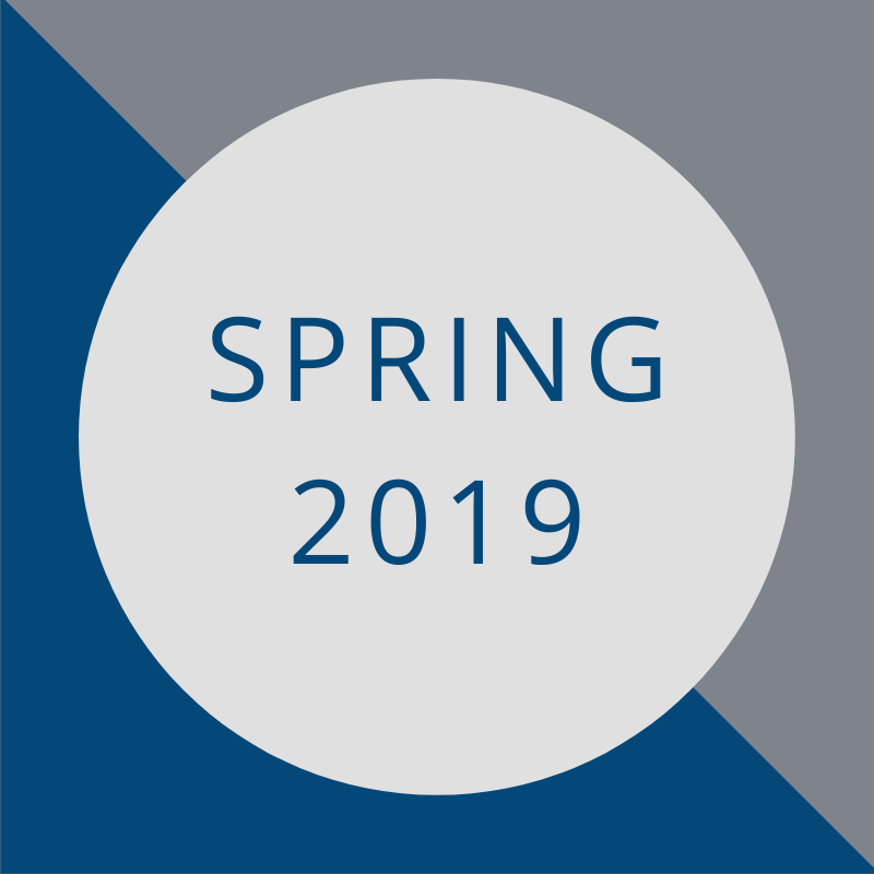 blue and gray background with the words - spring 2019