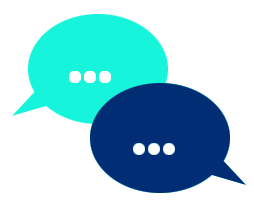 Two speak clouds icon indicating conversation between customer and service