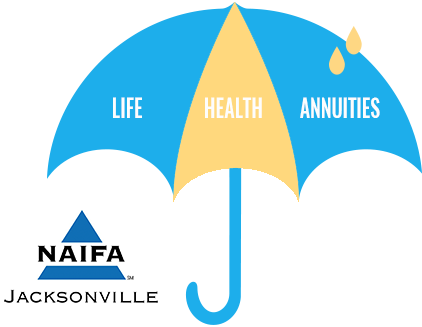 Umbrella with the words life, health, and annuities on it. NAIDA jacksonville logo.