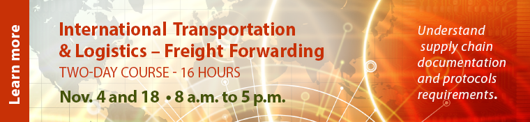 International Transportation & Logistics Freight Forwarding starts Aug. 19. Click image to learn more.
