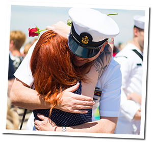 Military Soldier Hugging Wife