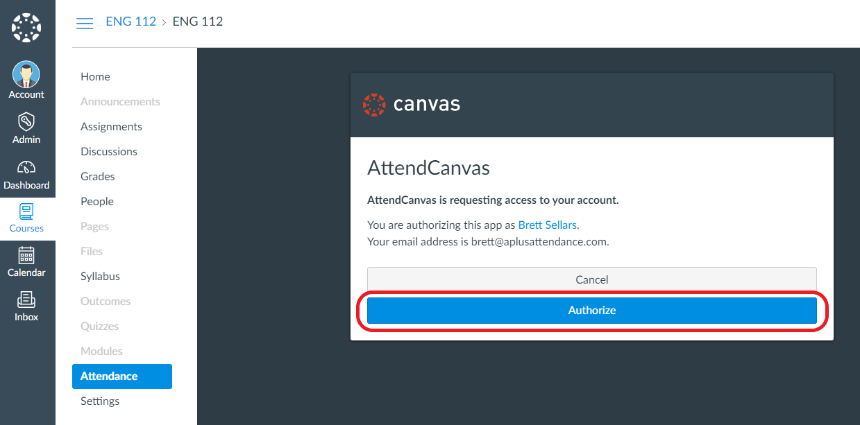 The Canvas LTI activation screen. The authorize button is circled in red.