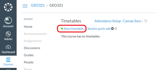 The new timetable screen in aPlus+ attendance. The new timetable link is circled in red.