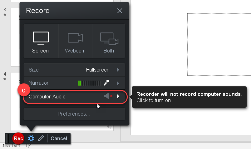 Screenshot - enabling the recording of computer audio