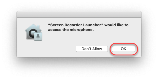 Screenshot of the microphone access dialogue box