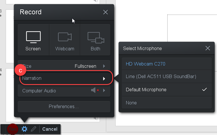 Screen Recorder microphone options