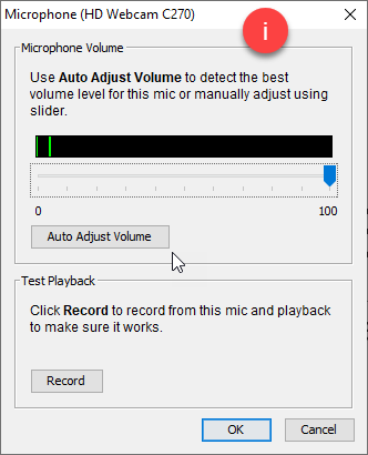 Microphone controls dialogue box