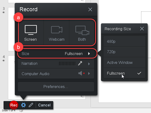 Screen Recorder Size Options