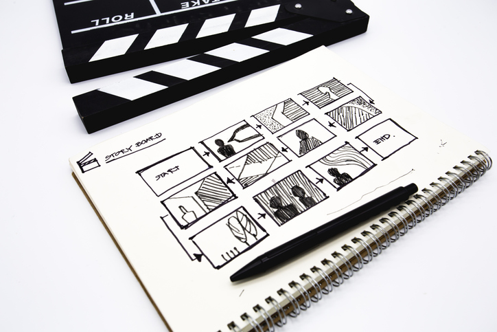 Storyboard on pad of paper