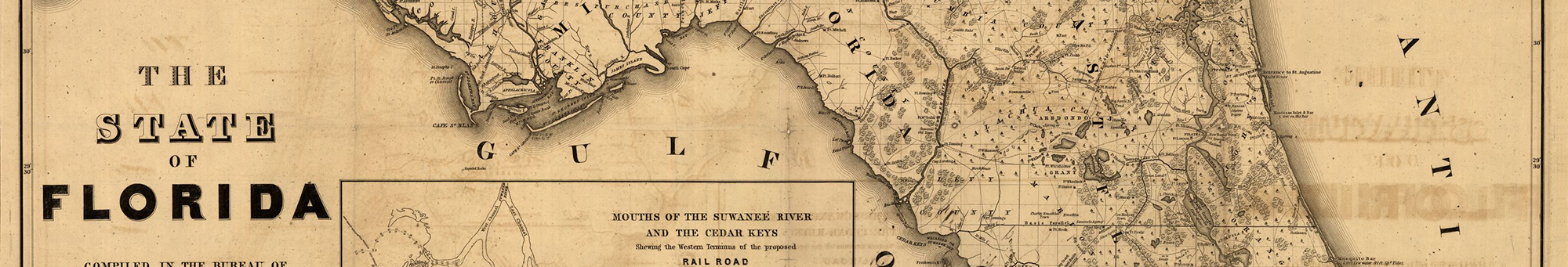 Banner -historic map of Florida, showing a slice of the N part of the state
