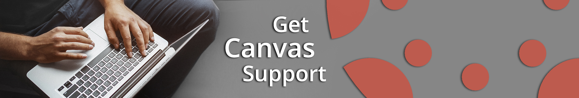 canvas help banner with laptop and logo