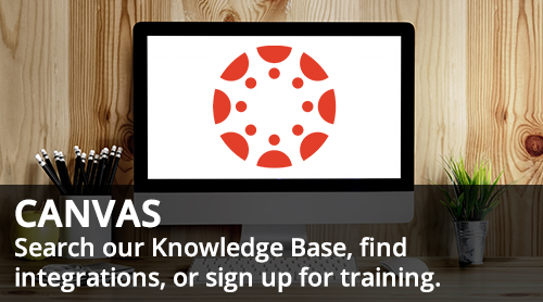 Canvas logo on computer - search our knowledge base, find integrations, or sign up for training
