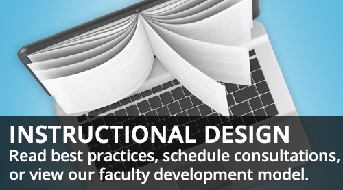 computer with book for screen Instructional design - schedule consultations, view development model, more info on page