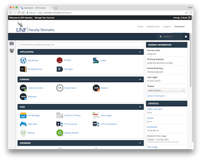 Faculty Domains cPanel