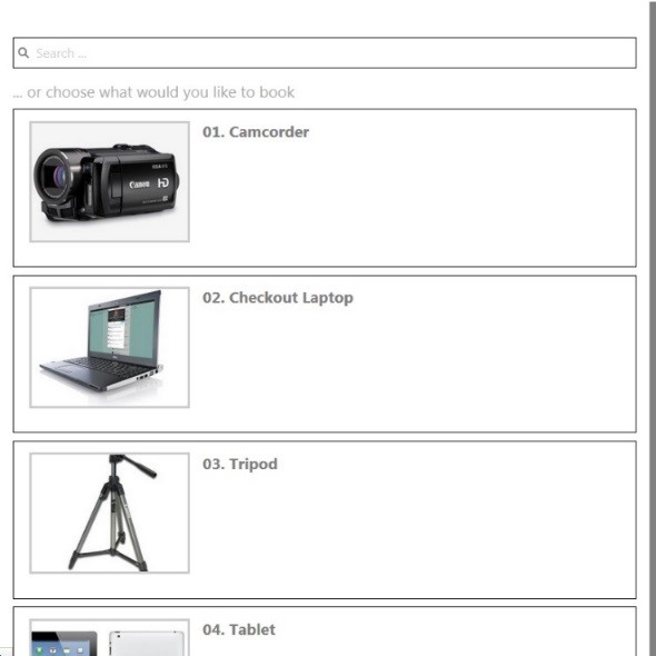 rental equipment page