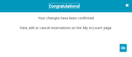 screenshot of Reservation Confirmation Message