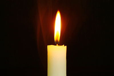 single candle for memorial