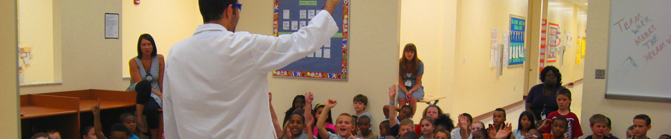 UNF chemistry students participate in outreach activities for K-12 children, introducing them to science