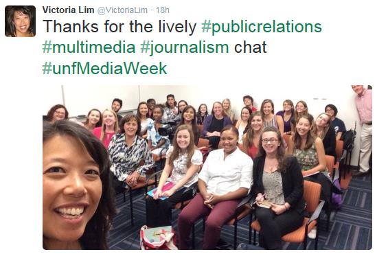 Victoria Lim tweeted - Thanks for the lively public relations multimedia journalism chat