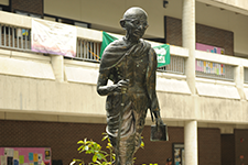 statue of ghandi in courtyard