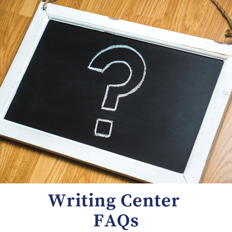 writing center faqs - image of black chalkboard with a question mark on it