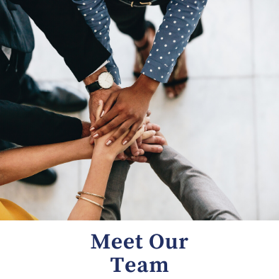 Meet our team - hands on top of each other