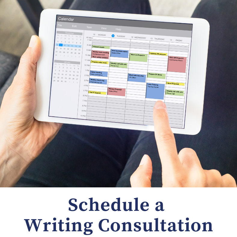 Schedule a Writing Consultation - calendar on a tablet