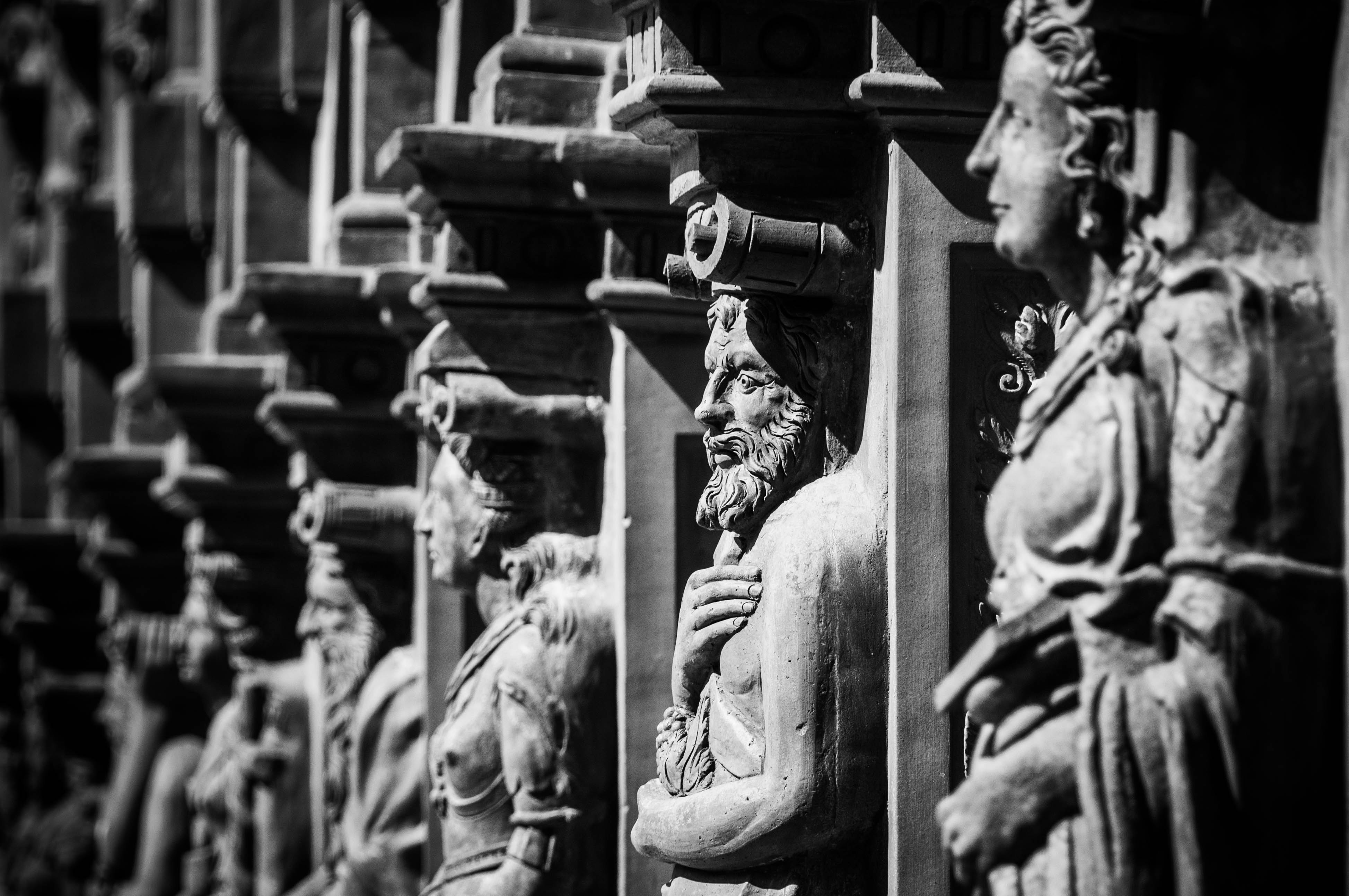 black and white statue caryatids on a monument