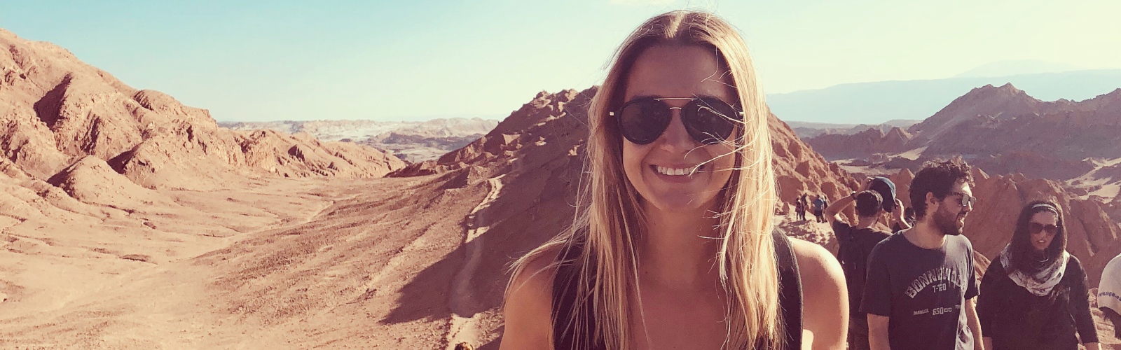 Banner image of student Kaye Davies in Chile in 2017