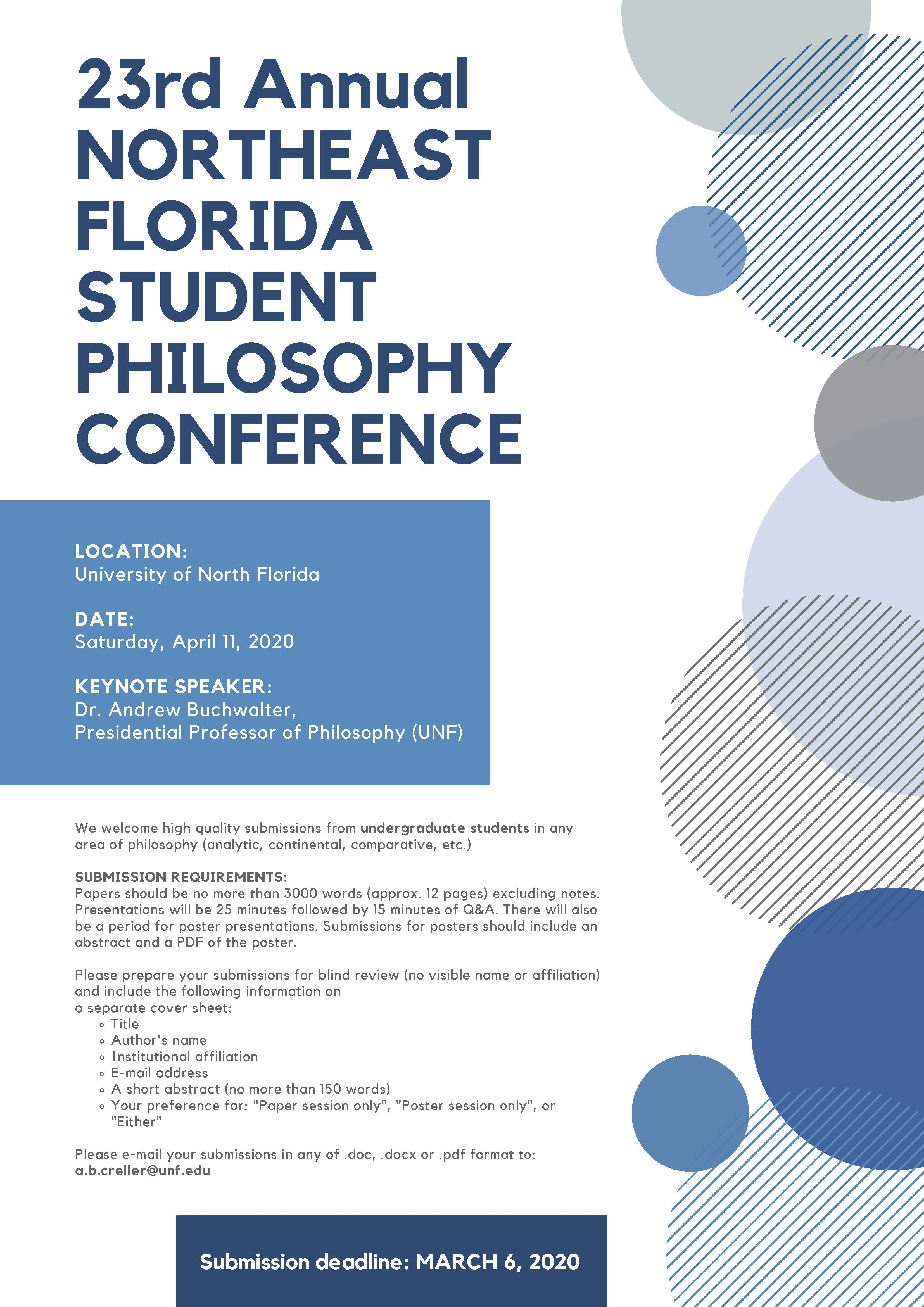 23rd Annual Northeast Florida Student Philosophy Conference