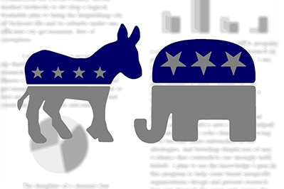 republican and democrat symbols over faded chart background