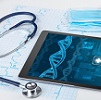 Ipad with medical DNA imaging and stethoscope