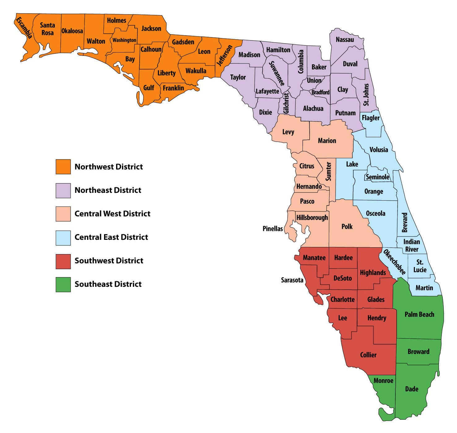 UNF COAS Political Science Public Administration Florida - Map of florida counties and cities