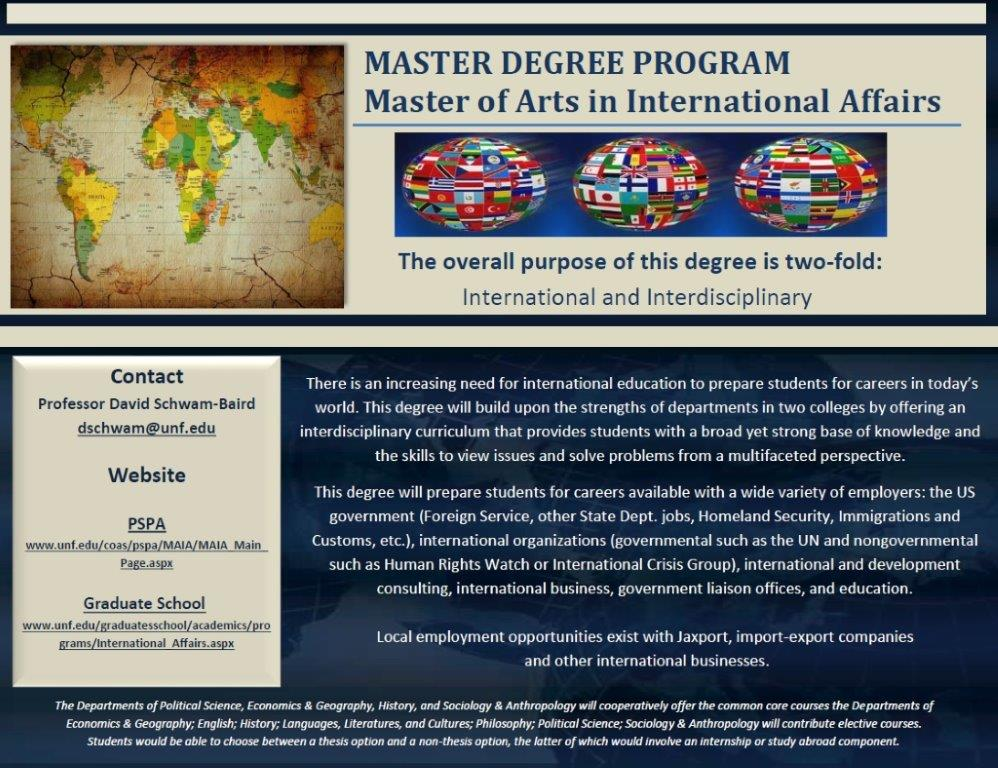 Master of Arts in International Affairs Flyers