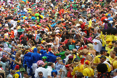 Crowd of people wearing colorful clothing
