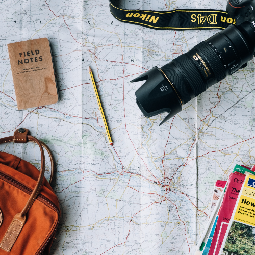 travel map with camera