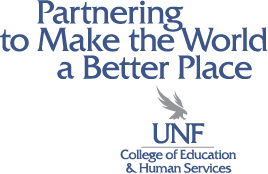 partnering to make the world a better place - unf college of education and human services - logo