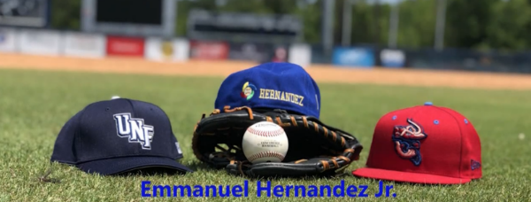 Emmanuel Hernadex Jr - 3 baseball hats and a mitt with a baseball on the green